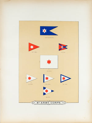 8th Army Corps Antique Civil War Union Army Flag Print 1887 A