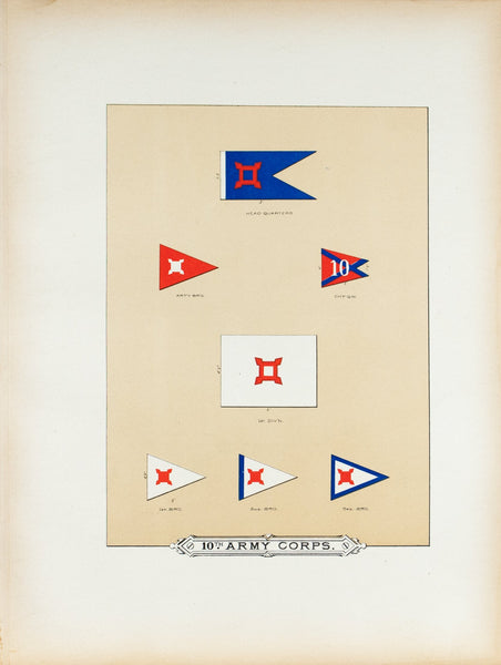 10th Army Corps Antique Civil War Union Army Flag Print 1887 A