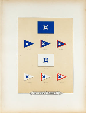 10th Army Corps Antique Civil War Union Army Flag Print 1887 B