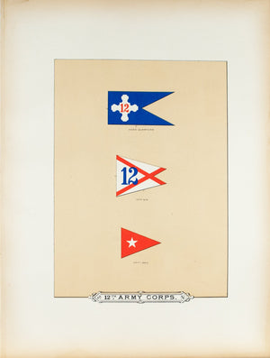 12th Army Corps Antique Civil War Union Army Flag Print 1887 A