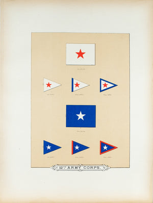 12th Army Corps Antique Civil War Union Army Flag Print 1887 B