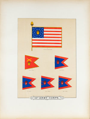 14th Army Corps Antique Civil War Union Army Flag Print 1887 A