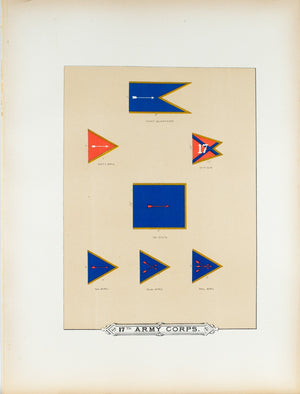 17th Army Corps Antique Civil War Union Army Flag Print 1887 A