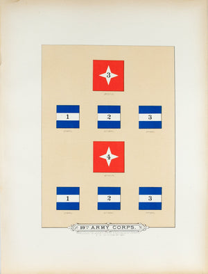19th Army Corps Antique Civil War Union Army Flag Print 1887 B