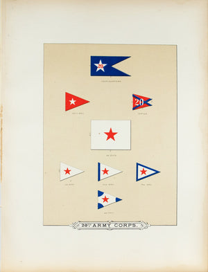 20th Army Corps Antique Civil War Union Army Flag Print 1887 C