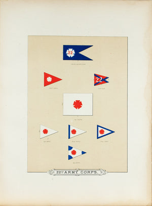 22th Army Corps Antique Civil War Union Army Flag Print 1887 A