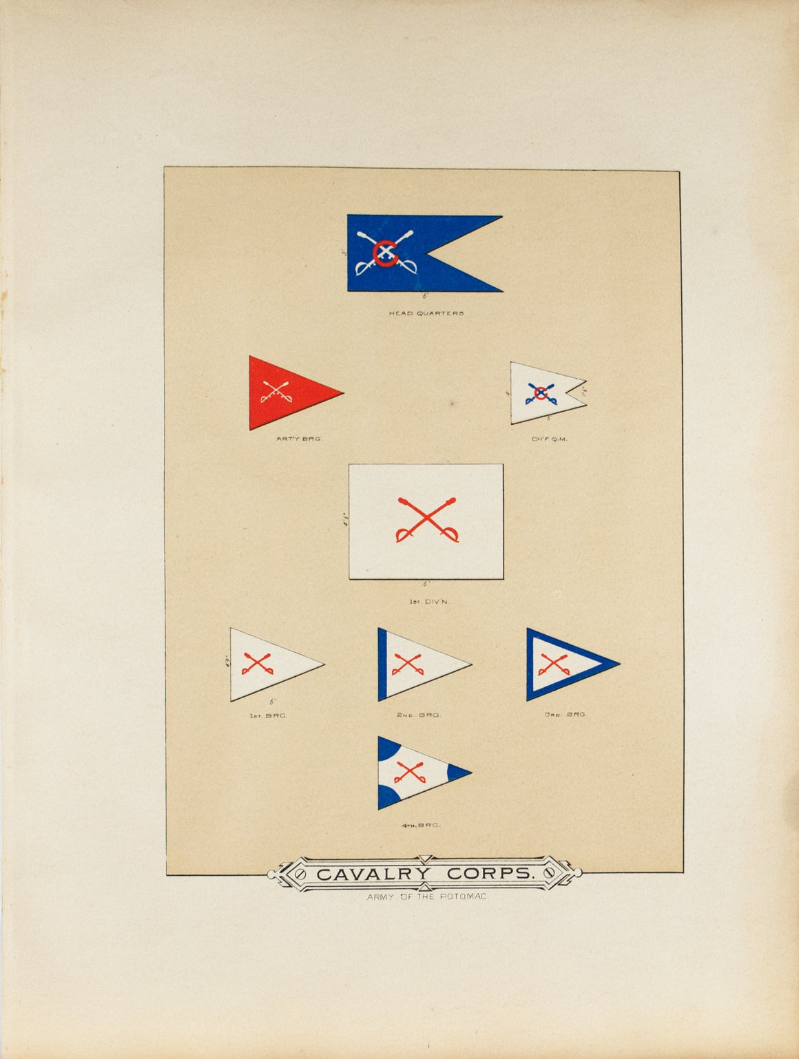 Cavalry Corps Antique Civil War Union Army Flag Print 1887 A