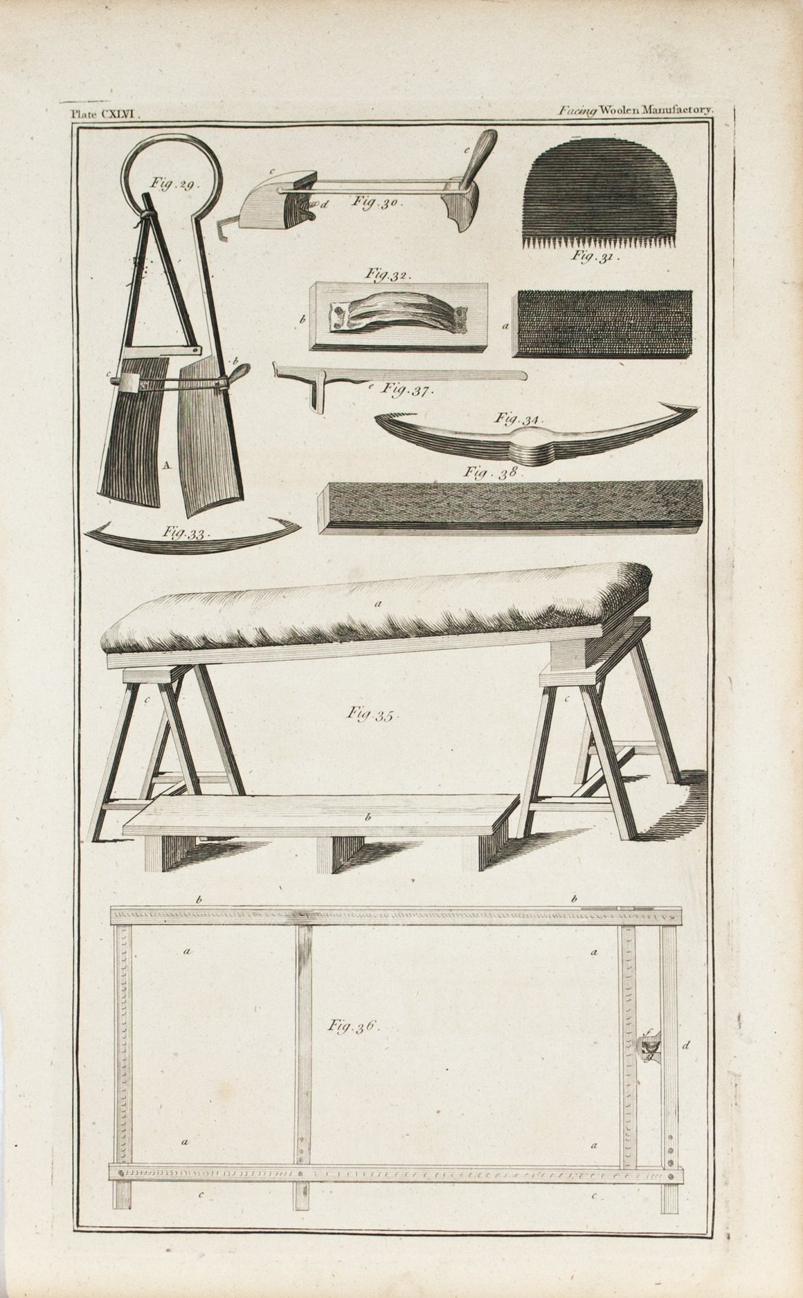 Woolen Manufactory Tools 1760s Antique Science Print