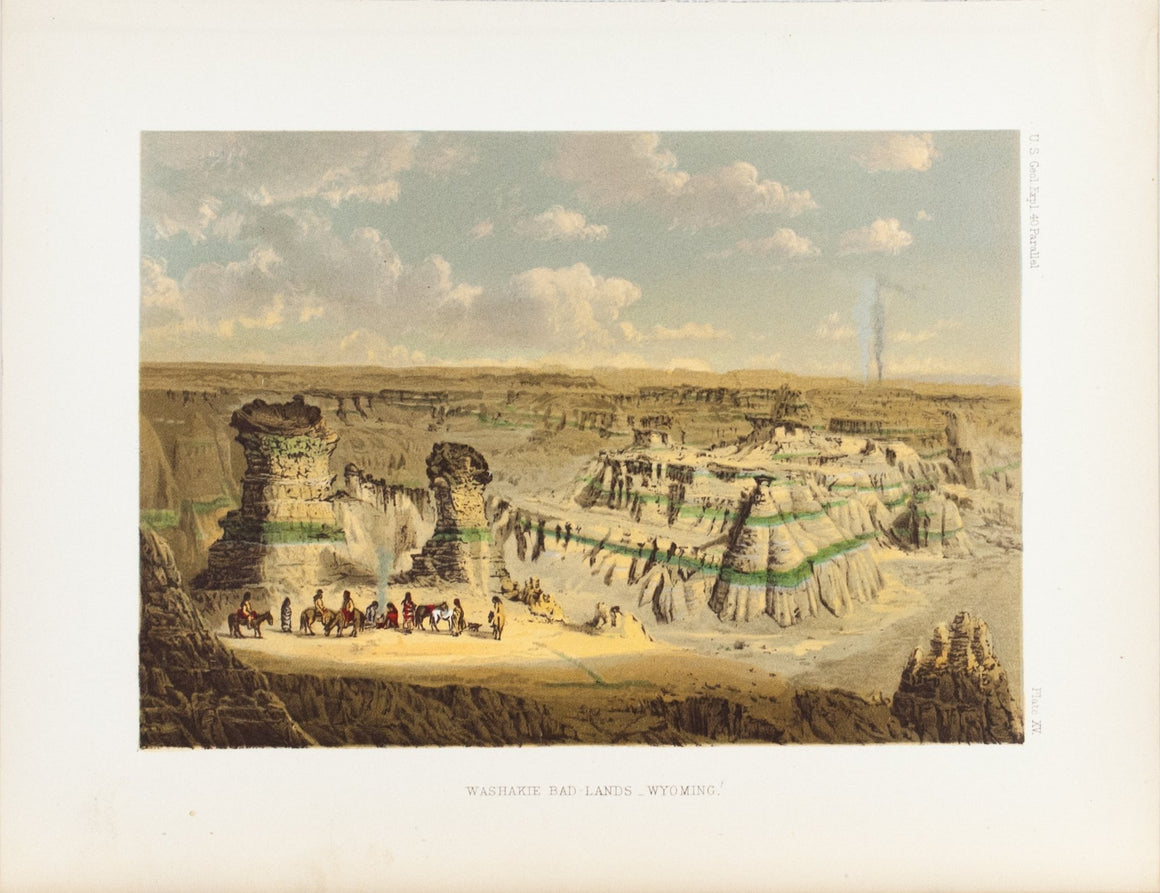 Washakie Bad Lands Wyoming Native American Camp Antique Print 1870