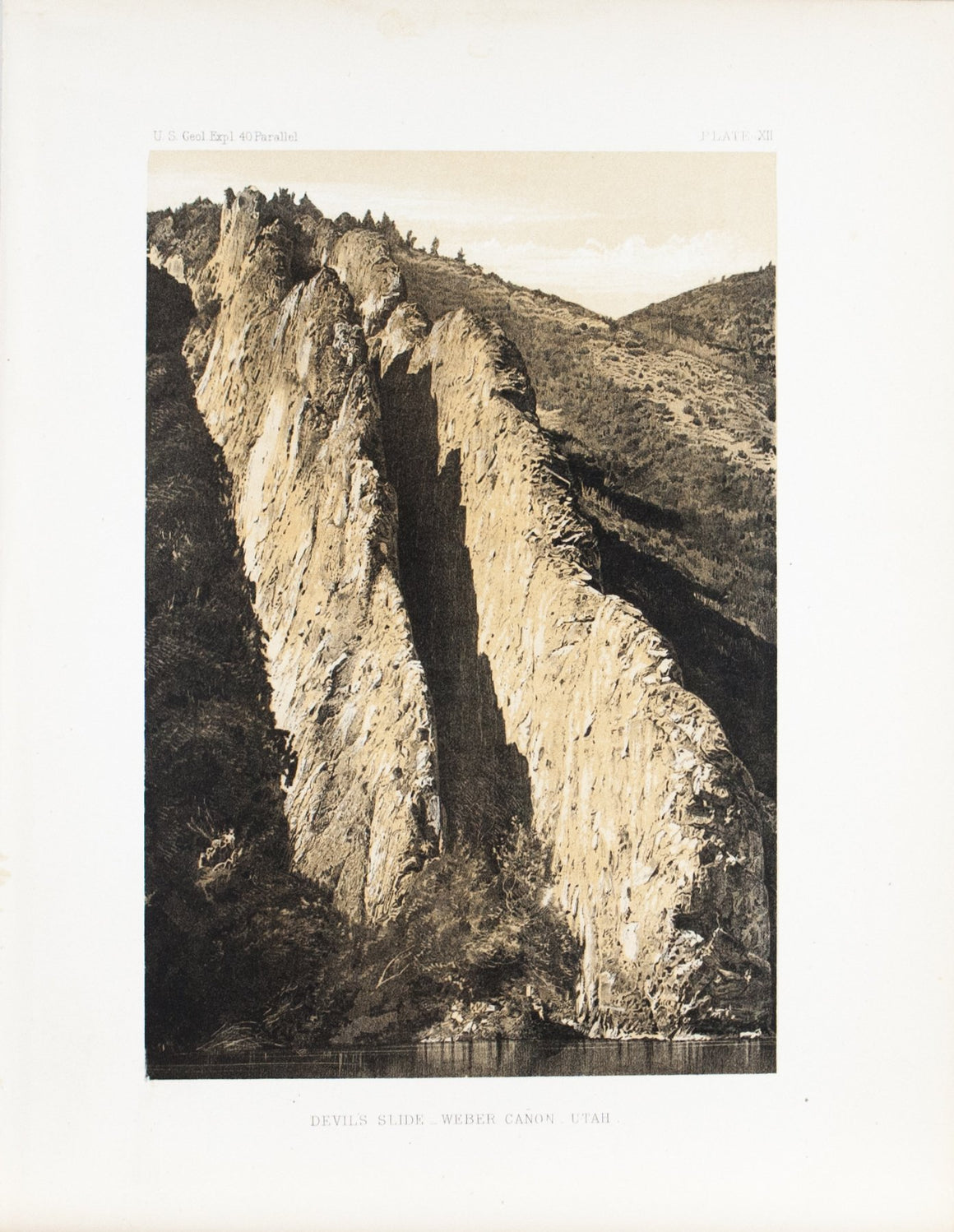 Devil's Slide Weber Canyon Utah Antique Timothy O'Sullivan Print 1870