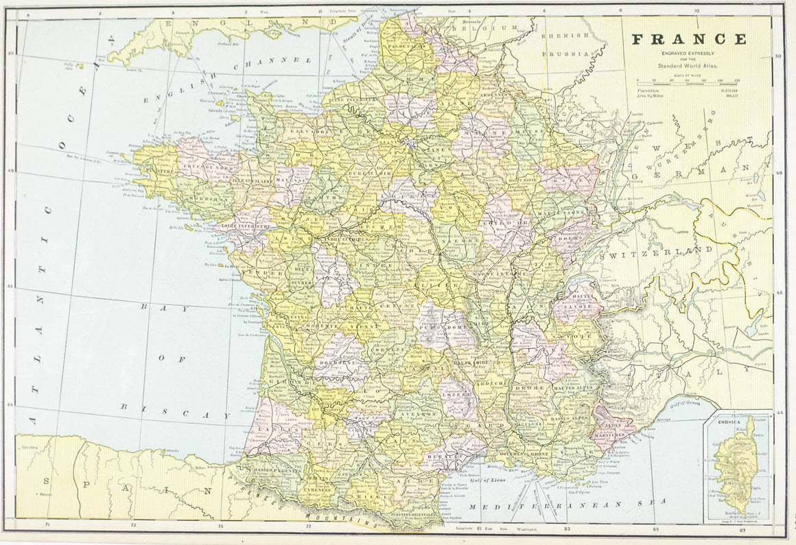 1887 Switzerland & France - Cram
