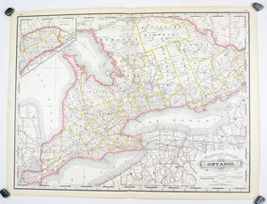 1887 Railroad and County Map of Ontario - Cram