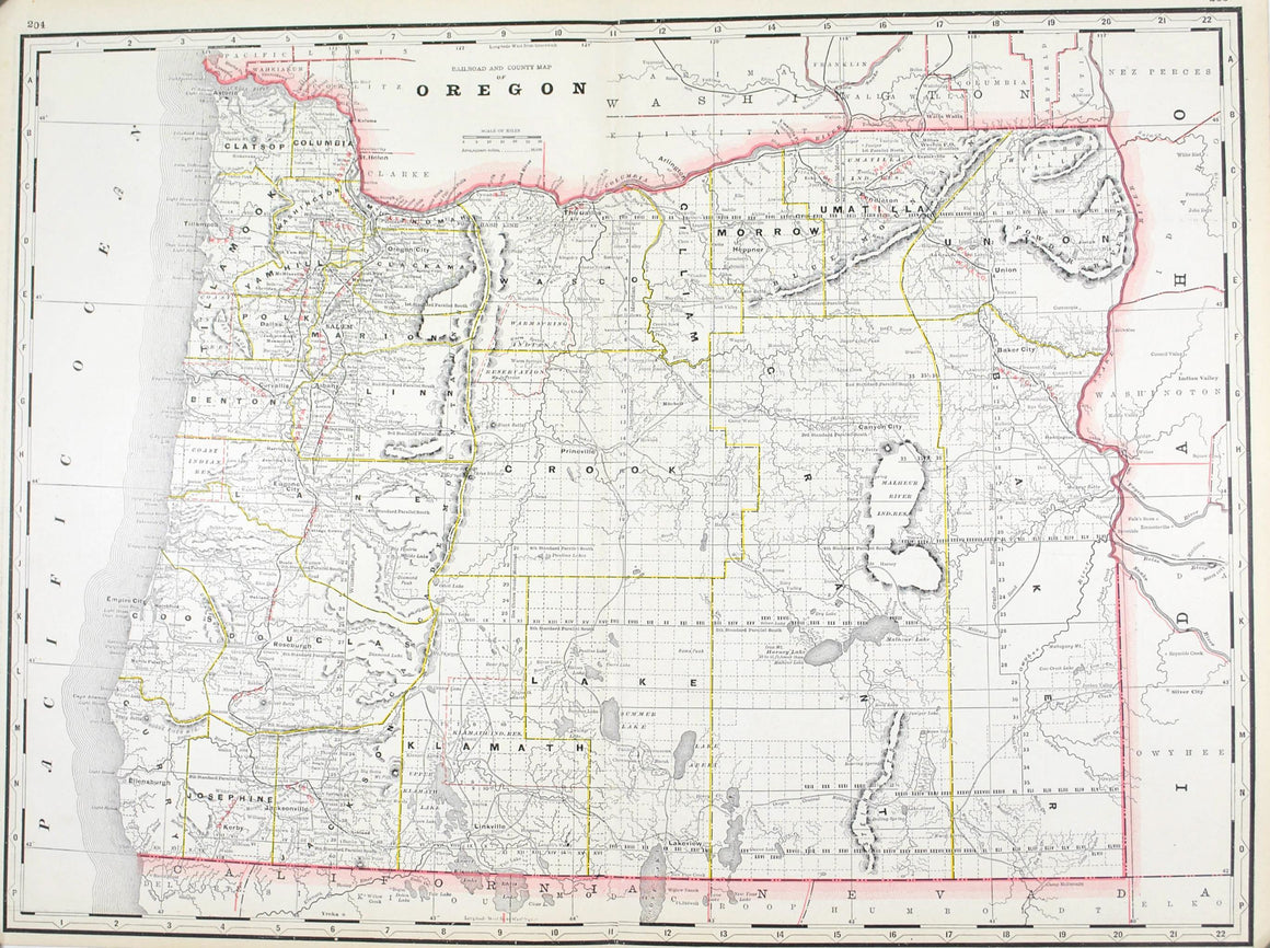 1887 Railroad and County Map of Oregon - Arrowsmith