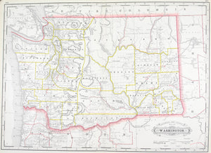 1887 Railroad and County Map of Washington