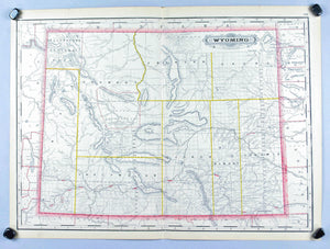 Wyoming Railroad and County Native American Reservations Antique Map 1887