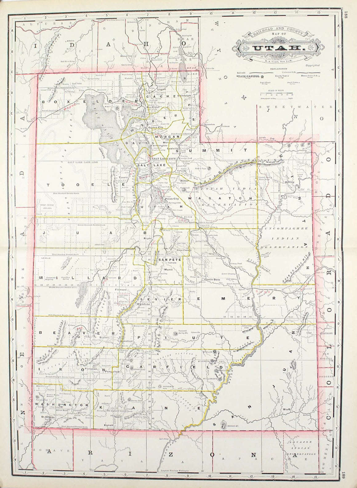 1887 Railroad and County Map of Utah