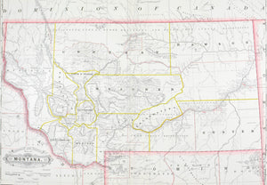 1887 Railroad and County Map of Montana
