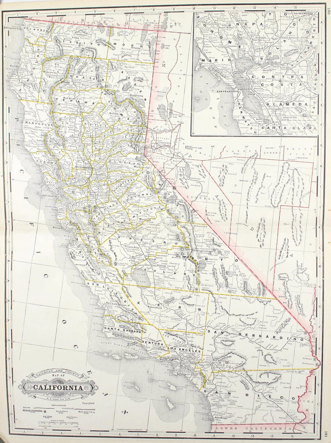 1887 Railroad and County Map of California