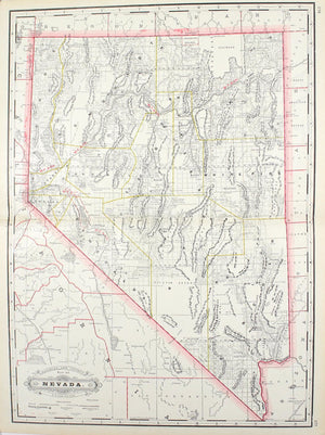 1887 Railroad and County Map of Nevada