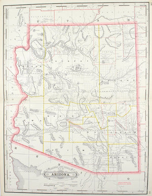 1887 Railroad and County Map of Arizona