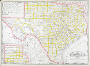 1887 Railroad and County Map of Texas