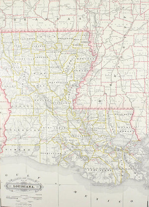 1887 Railroad and County Map of Louisiana