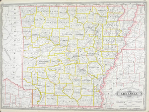 1887 Railroad and County Map of Arkansas