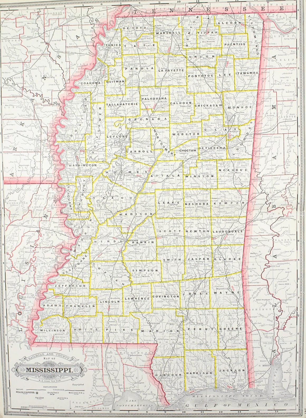 1887 Railroad and County Map of Mississippi