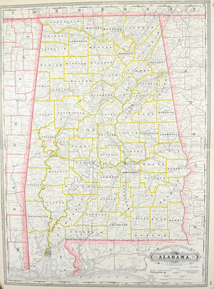 1887 Railroad and County Map of Alabama