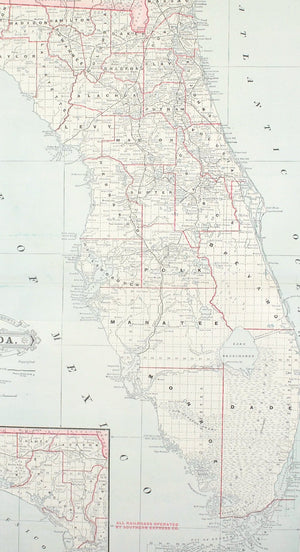 1887 Railroad and County Map of Florida
