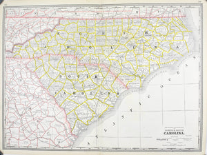 1887 Railroad and County Map of North & South Carolina