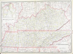 1887 Railroad and County Map of Kentucky & Tennessee