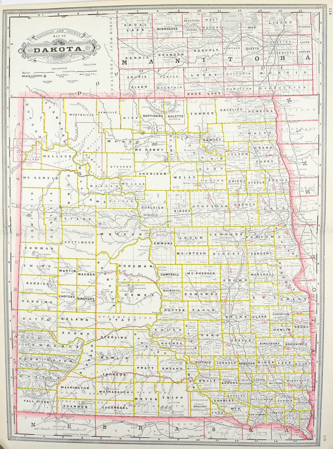 1887 Railroad and County Map of Dakoda