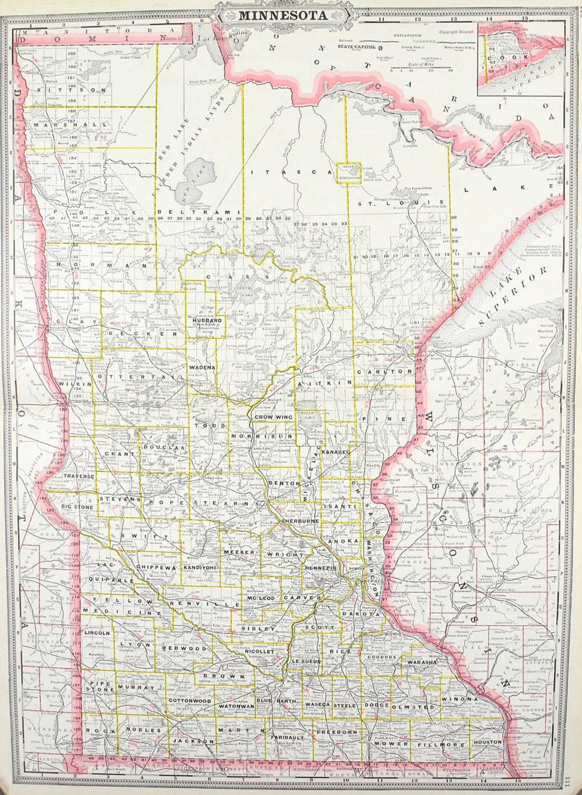 1887 Railroad and County Map of Minnesota