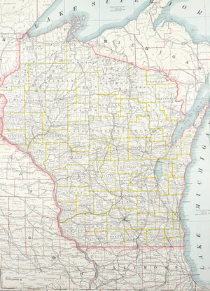 1887 Railroad and County Map of Wisconsin