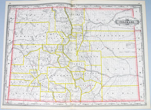 Colorado Railroad and County Antique Map 1887