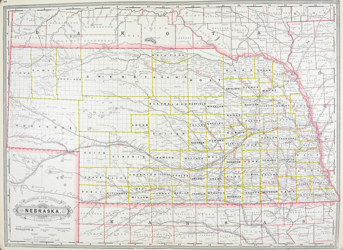 1887 Railroad and County Map of Nebraska