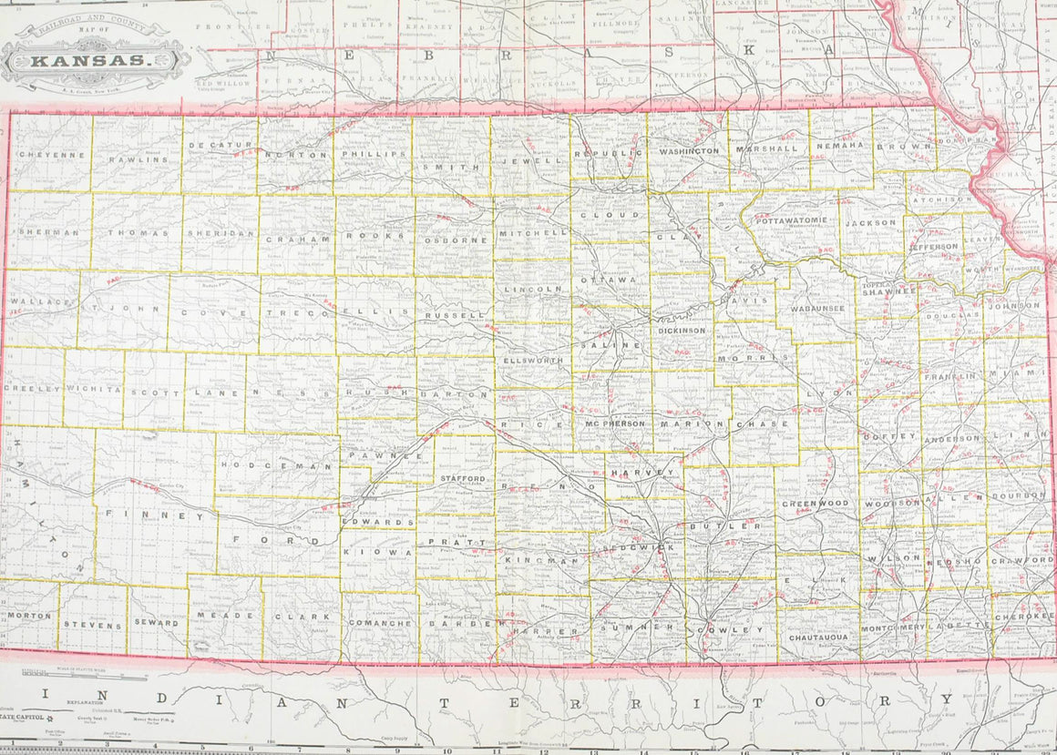 1887 Railroad and County Map of Kansas
