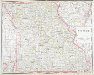 1887 Railroad and County Map of Missouri