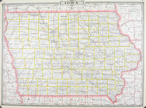 1887 Railroad and County Map of Iowa