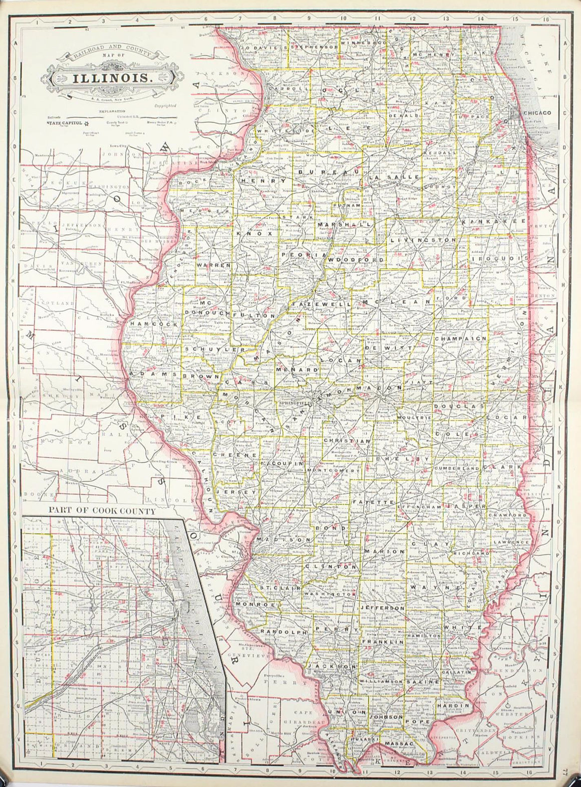 1887 Railroad and County Map of Illinois