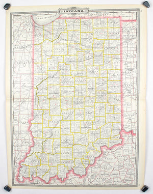 1887 Railroad and County Map of Indiana