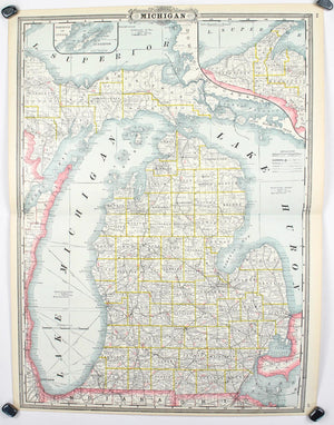 1887 Railroad and County Map of Michigan