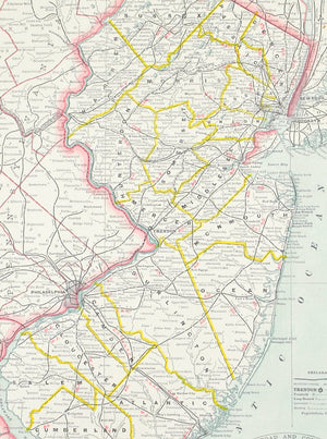 1887 Railroad and County Map of New Jersey