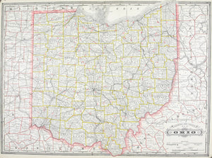1887 Railroad and County Map of Ohio