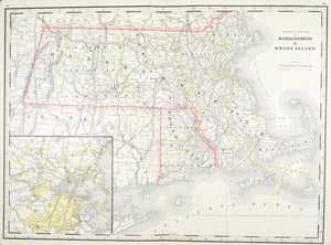 1887 Railroad and County Map of Massachusetts Rhode Island