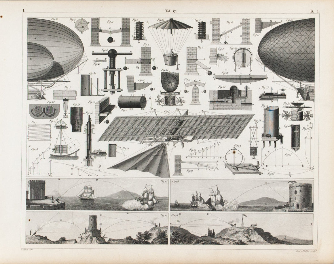 Early Flying Machines Gravity Centrifugal Forces Antique Physics Print 1857