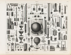 Liquid Pressures Barometer Balloon Antique Physics Print 1857