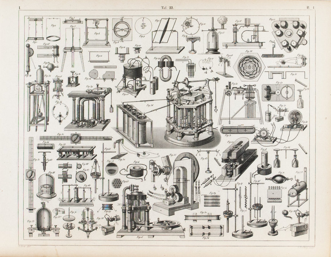 Electro-Magnetic Machine Electricity Antique Physics Print 1857