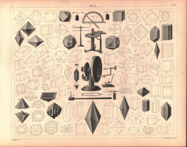 3D Shapes Dodecahedron Prism Crystal Antique Geometry Print 1857